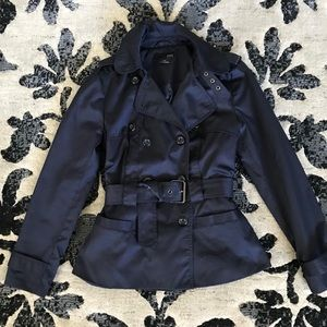 Forever 21 Short Trench, Navy Blue, Size M